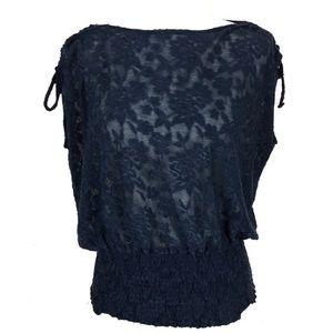deletta lace sheer boatneck tie sleeve top xs